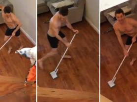 Współlokator przyłapany podczas sprzątania