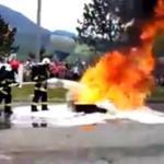 Wpadka na pokazie strażackim
