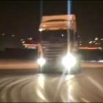 Drifting ciężarówką - po lodzie!