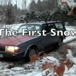 Szalony Norweg cieszy się pierwszym śniegiem