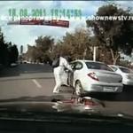 Wściekły rowerzysta - zaatakował kierowcę!