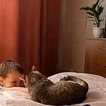 """Dziecko """"BAWI SIĘ"""" z kotem"""