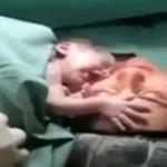 Noworodek nie chce, by zabrać go od mamy!
