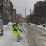 Snowboarding na ulicach Nowego Jorku