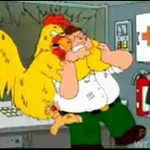 Peter walczy z wielkim kurczakiem