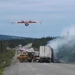 Gaszenie pożaru ciężarówki na Alasce