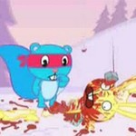"Superbohater z kreskówki ""Happy Tree Friends"""
