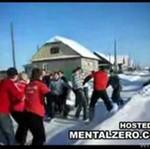 Ustawka kiboli na śniegu - BRUTALNA BÓJKA!
