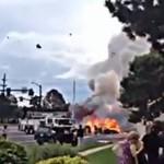 Eksplozja płonącego auta