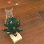 Myszka dekoruje choinę