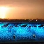 Burza nad Warszawą z dachu stadionu Legii