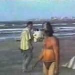 Nieostrożny plażowicz