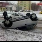 Wypadek w Białymstoku - auto przewróciło się na dach!