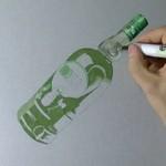 Hiperrealistyczny rysunek... butelki wódki!