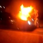 Pożar Mercedesa na nielegalnych wyścigach - Stalowa Wola