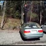 BEZ TRUDU wskoczył na dach samochodu!