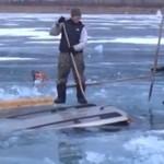 Wyciaganie auta spod lodu